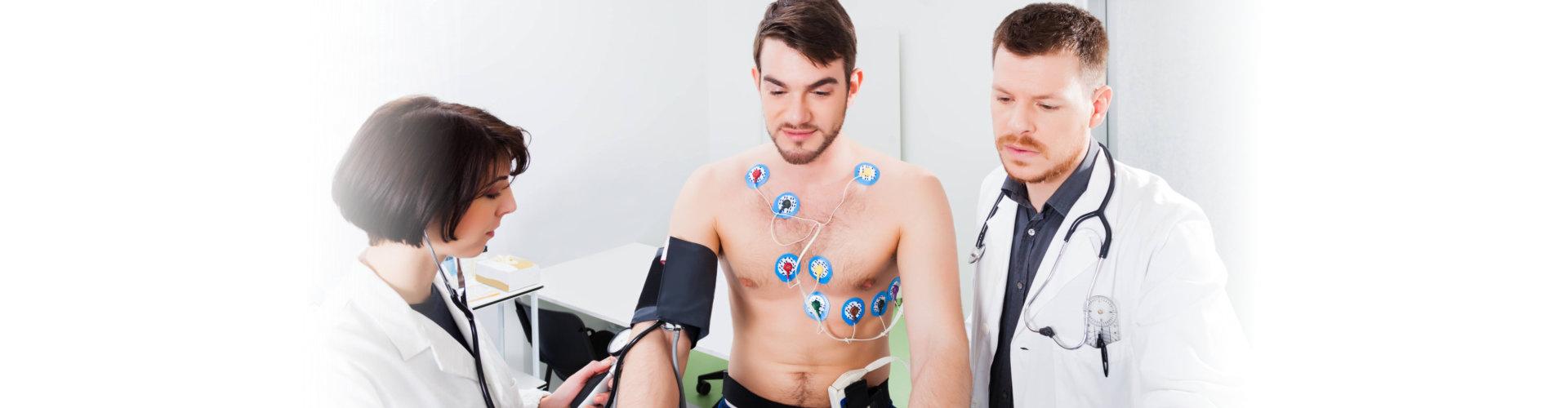 man doing echocardiogram