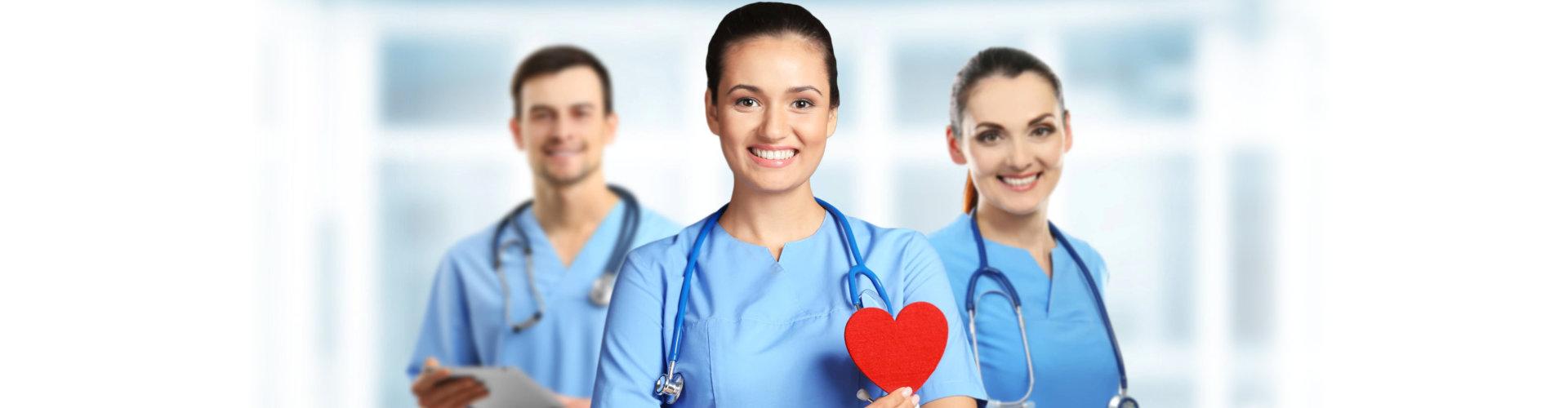 three medical professionals in uniform